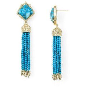 NWT Kendra Scott Misha Turquoise Blue Gold Earring